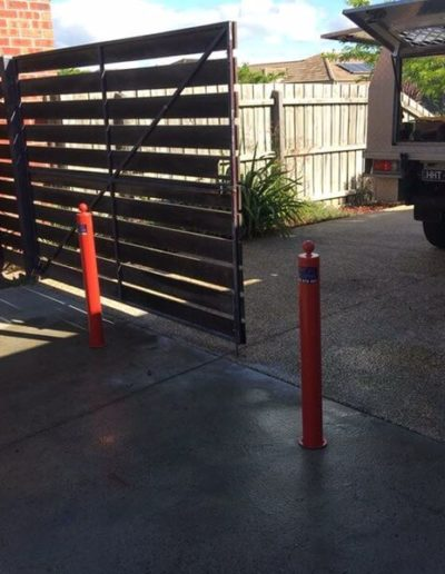 a pair of bollards by Bollards Direct in use